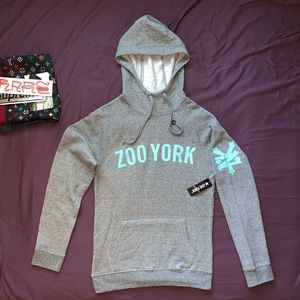 ZOO YORK Spell Out Hoodie French Terry Cloth NWT ★ grey baby blue colorway